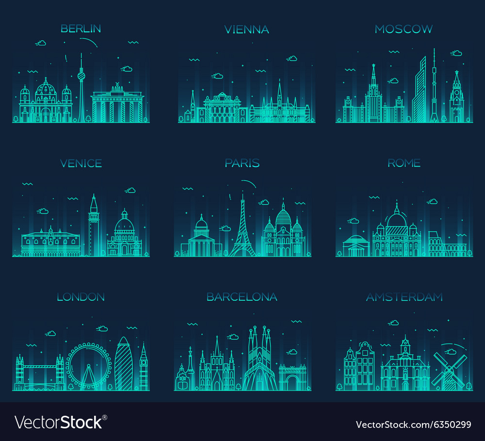 Europe skylines paris london barcelona line art vector