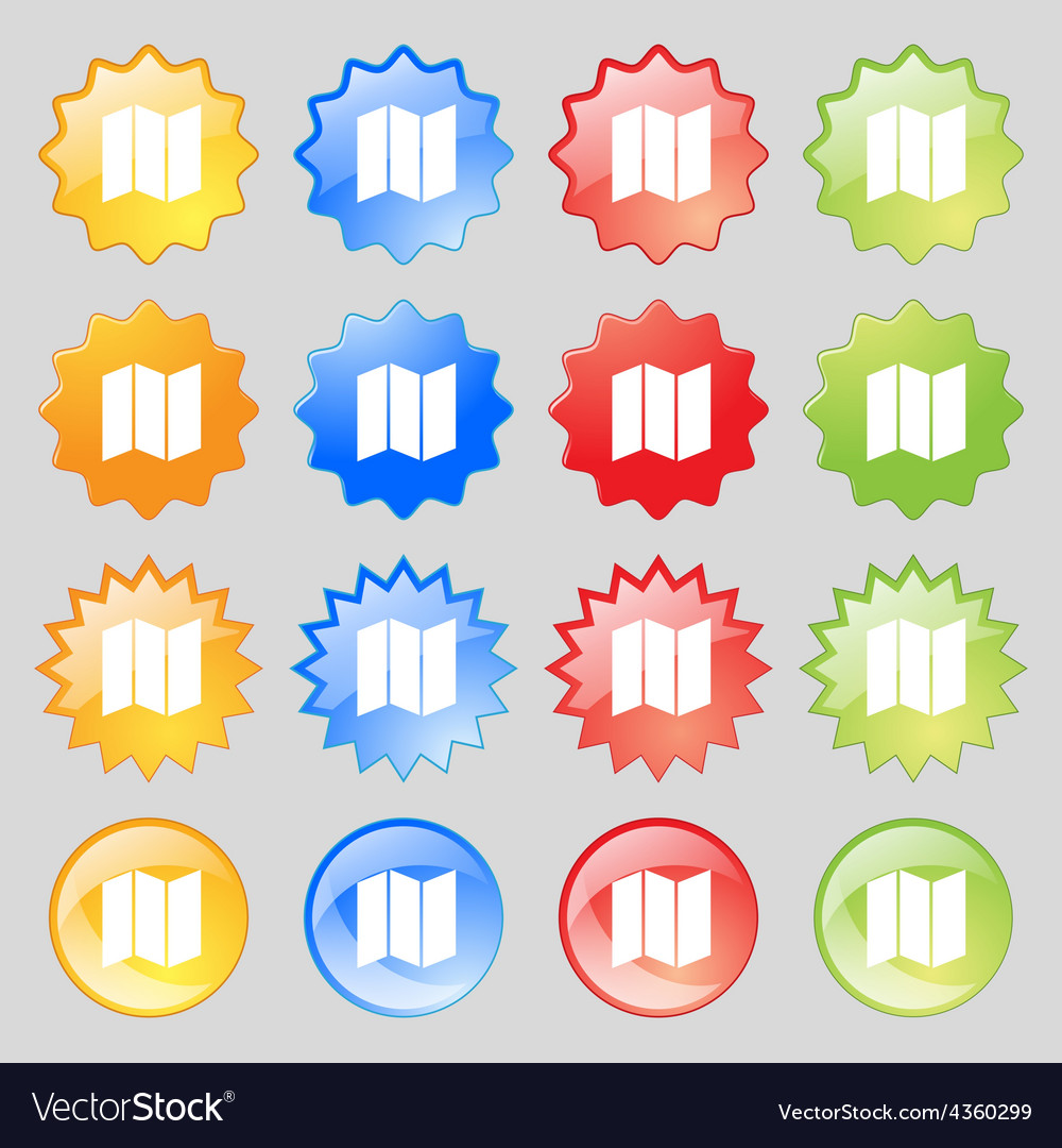 Map icon sign big set of 16 colorful modern vector