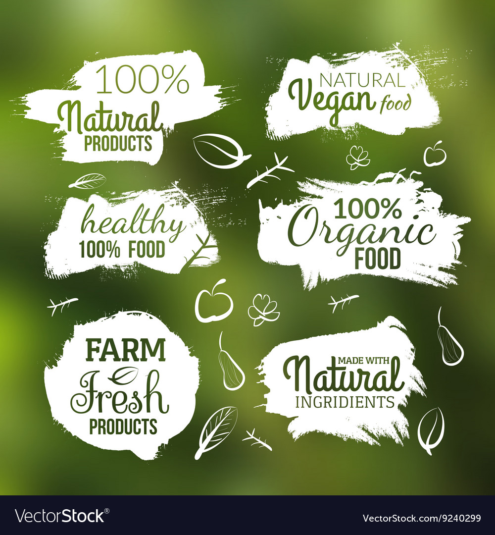 Natural organic food label farm products vector