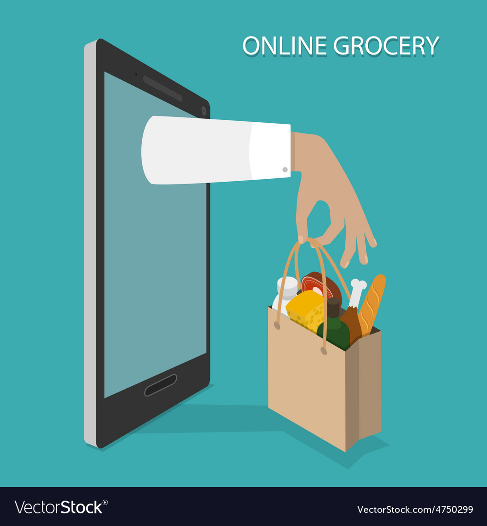 Online grocery ordering delivery concept vector