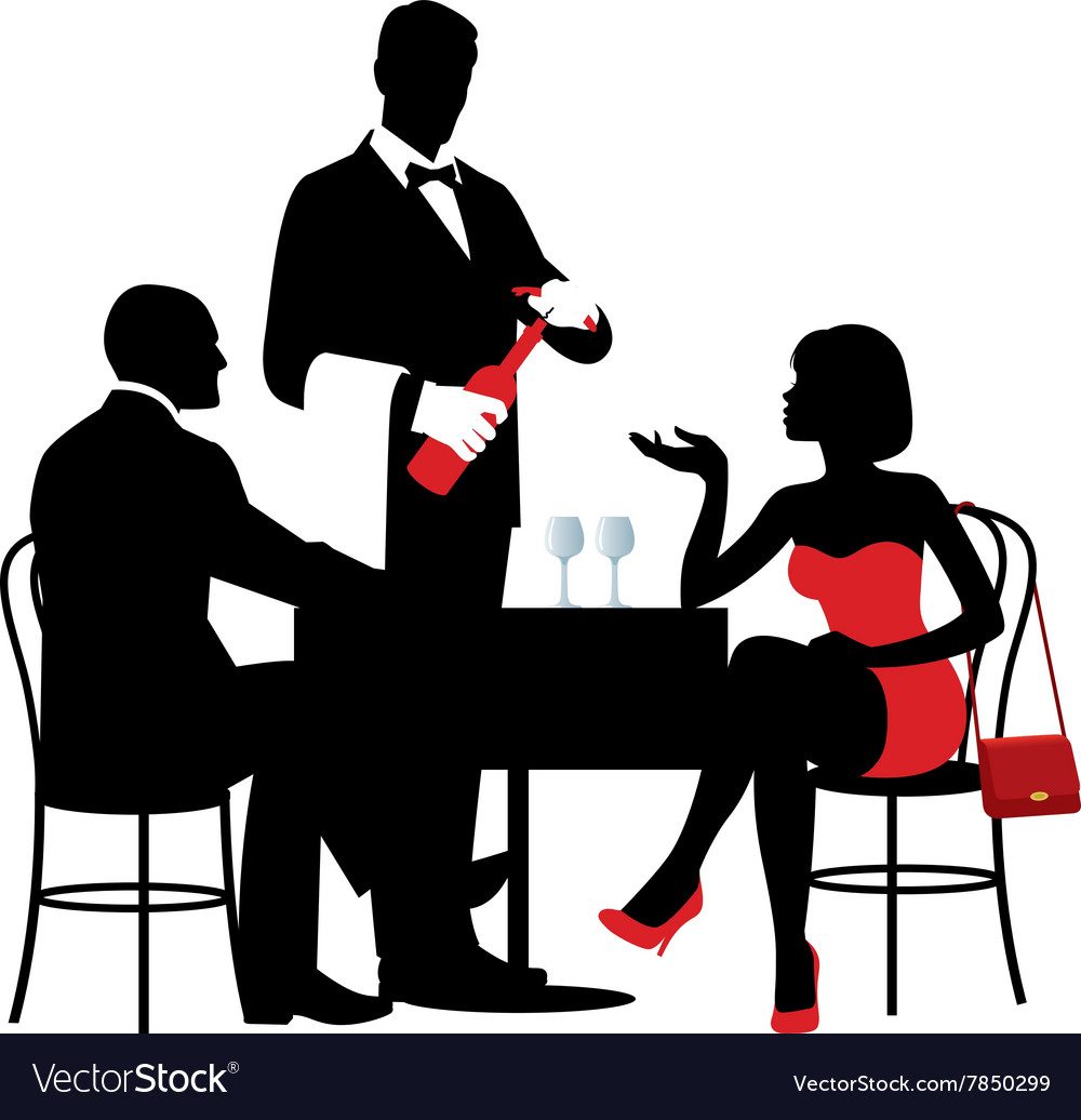 People sitting at the table of the restaurant vector