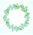Card with forget me not flowers wreath vector image