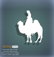 Camel icon On the blue-green abstract background vector image