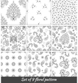 Set of 9 monochrome floral seamless pattern vector image