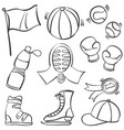 doodle of object sport equipment vector image
