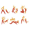 icons set with people and dogs pictogram for vector image vector image
