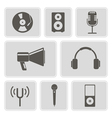 icons with music and audio equipment vector image