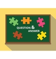 question and answer in green board puzzle concept vector image