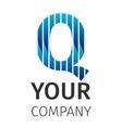 Abstract blue logo Q vector image