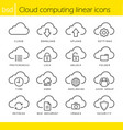 Cloud computing linear icons set vector image