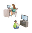 flat girl using pc boy plays in video game vector image