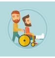 Man pushing wheelchair with patient vector image