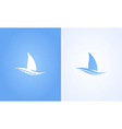 Sailboat symbol on white and blue background vector image