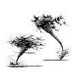 tornado sketch hand-drawn style vector image