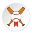 Baseball bat and ball icon cartoon style vector image