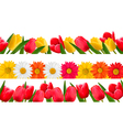 Spring flower borders vector image