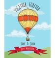 Wedding Card with hot air balloon vector image