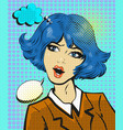 business woman surprised pop art comic style vector image