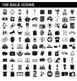 100 sale icons set simple style vector image