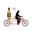 lover drink alcohol bottle of whiskey on bike man vector image