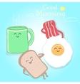 Breakfast cute happy vector image