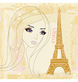 portrait of a beautiful girl in Paris vector image