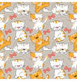 seamless pattern -funny cartoon kitten vector image vector image