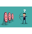 Cartoon businessman with bow and arrow vector image