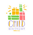 child birthday promo sign childrens party vector image