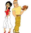 Footballer and cheerleader vector image