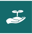 Human hands holding sprout vector image