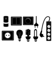 Electric accessories silhouette icons vector image vector image