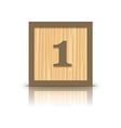number 1 wooden alphabet block vector image