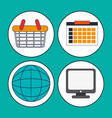 collection digital marketing work media vector image
