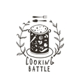 Cooking Battle Sign with Laurel and Label vector image