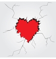 Hole in heart shape on the wall vector image