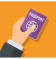 Passport in hand vector image