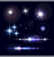 set of realistic lens flares star lights vector image