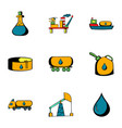 black gold icons set cartoon style vector image