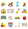kindergarten symbol icons set in flat style vector image