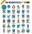 robotic technology outline icons vector image