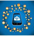 Social media icons smart phone vector image