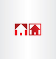 red square icon house real estate vector image