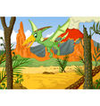 funny pterodactyl cartoon flying with forest lands vector image vector image