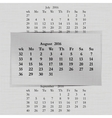 calendar month for 2016 pages August start Monday vector image