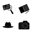 camera magnifier hat notebook with pen vector image