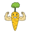 Cartoon carrot vegetable character with a smiling vector image