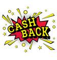 isolated pop art emblem cash back vector image