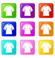 raglan tshirt icons 9 set vector image