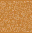 seamless pattern of outline pretzel vector image